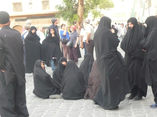 Iranian women waiting to pray at the famed Damascus mosque