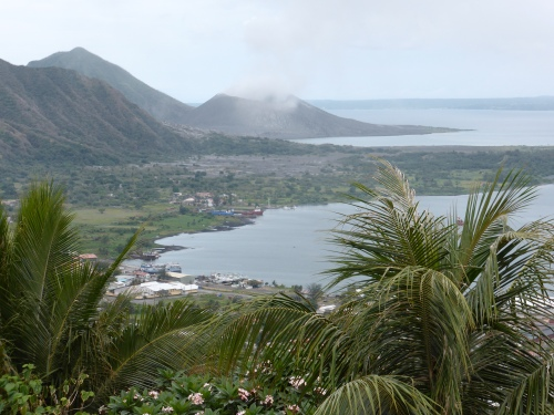 From the Observatory, the now flattened Rabaul town area still has that tropical magic although Tavurvur smoking in the background stands testament to its destruction.