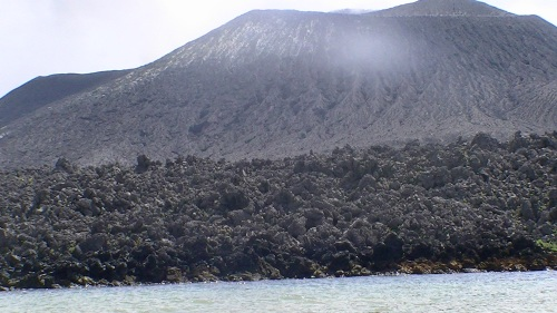 Twenty five years later, the volcanic flow still darkens the earth/