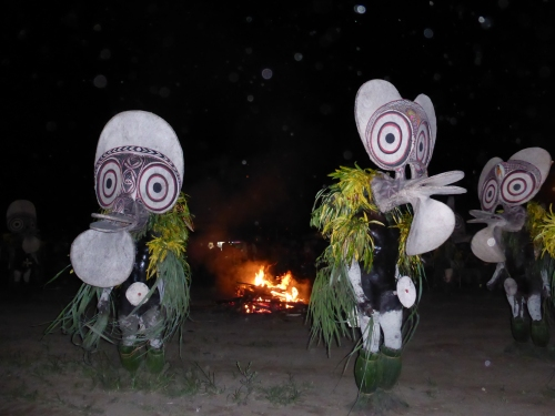 In the night the Bainings people preform their fire dance.