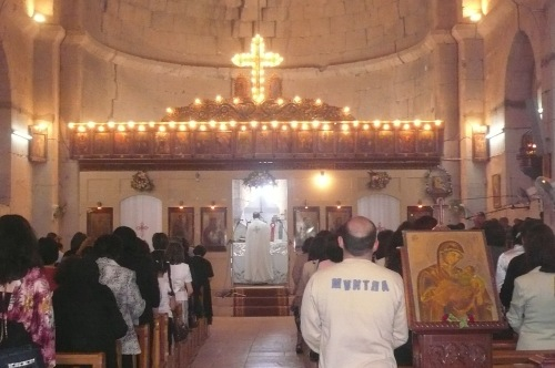 At the hilltop town of Safita I was attracted by the singing at an Orthodox mass