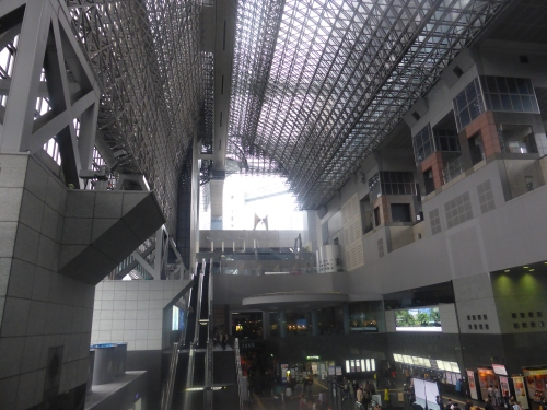 Kyoto railway station makes most modern architecture look like boxes. There's a concert platform at the top and restaurant arcades leading to department stores