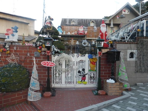 This house seemed a little out of character. Someone forgot to take the Xmas display down.