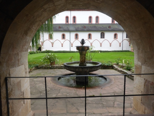 The cloister of the old Abbey where Rhine wine has been made for 900 years.