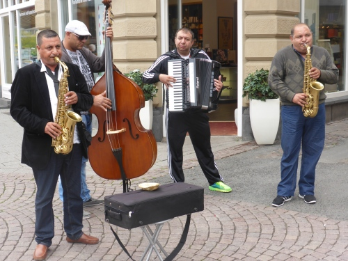 Friday is a big day for weddings and these buskers cheer up the scene.