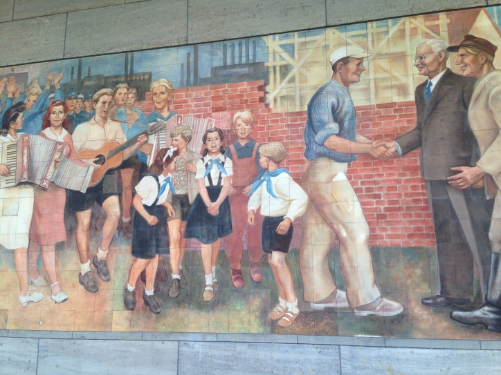 Part of a large communist era mural adorning the old Luftwaffe building.