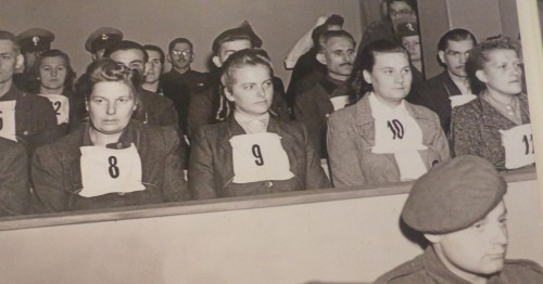 Former female guards in the first trail before a British military court of 45 of the SS camp personnel and Kapos from Bergen-Bergen camp.