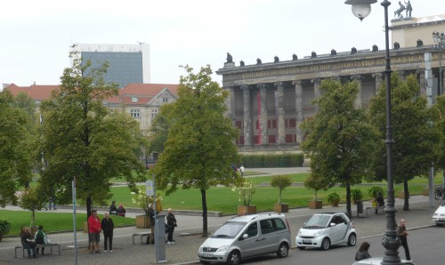 Altes Museum, one of the many neo Classical buildings designed by KF Schinkler, used to be draped in Nazi flags when  Hitler spoke to the crowds in the Lustgarten from here.