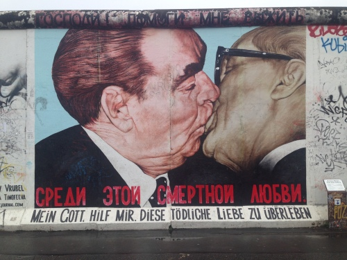 The most popular painting of all -Leonid Brezhnev and Erich Honecker kissing as painted by Dmitri Vrubel.